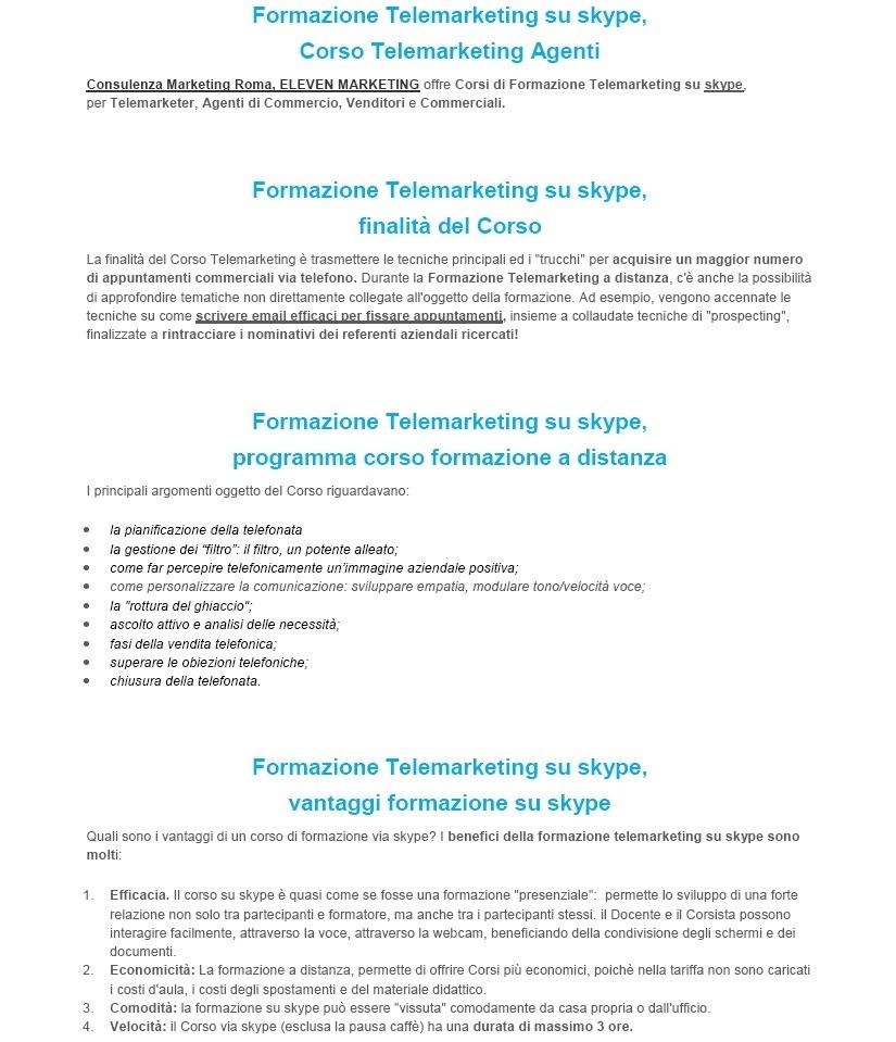 corso telemarketing skype