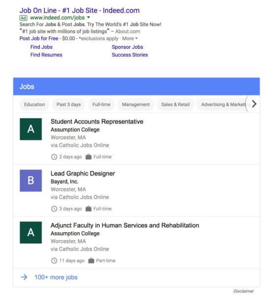 Nuovo Job Search Google