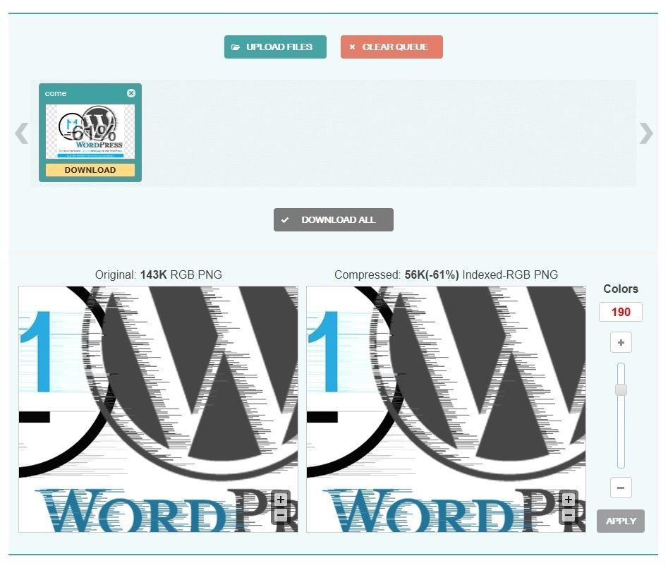 optimizilla.com ottimizzazione immagini sito wordpress