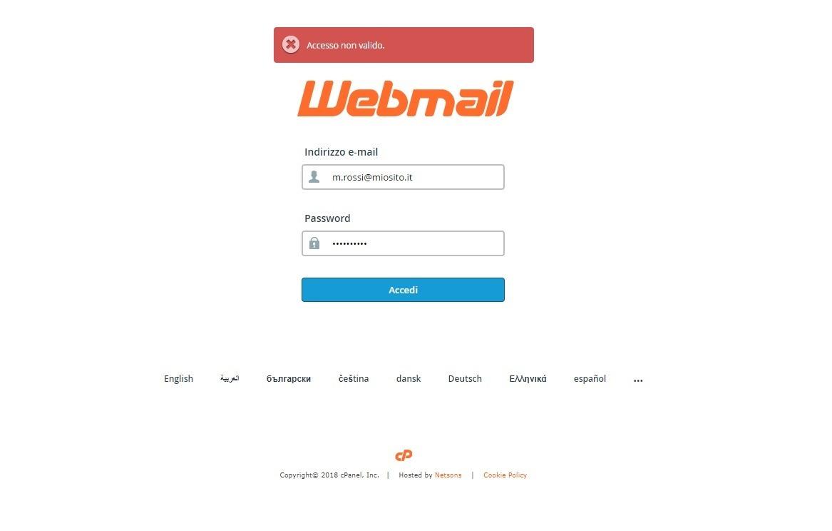 Webmail accesso non valido
