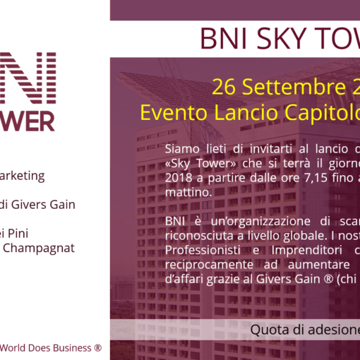 Acquisire nuovi clienti con il Referral Marketing: Evento BNI Sky Tower