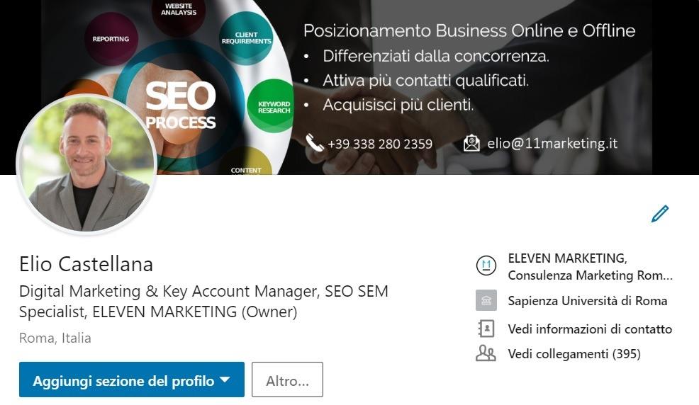 Ottimizzazione Profilo Linkedin, Elio Castellana Digital Marketing Consultant