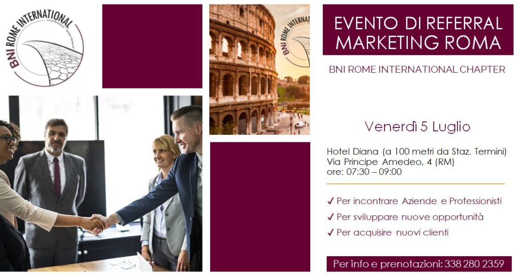 Eventi di referral marketing BNI Rome International Chapter
