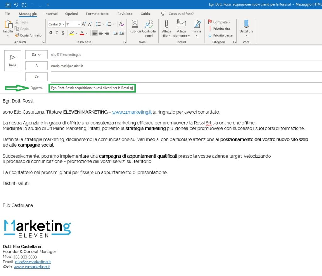 eesempio email formato commerciale HTML