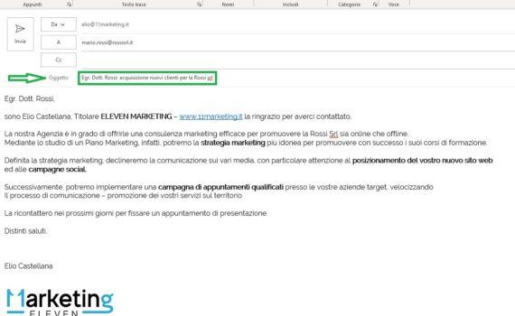 esempio email commerciale formato HTML