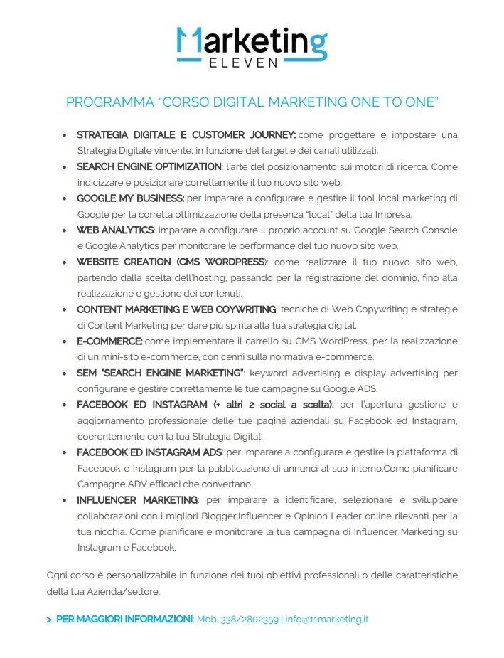 programma del Corso Digital Marketing