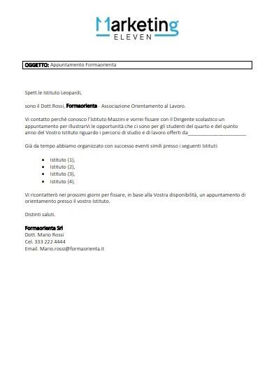 esempio email per fissare appuntamento istituto scolastico