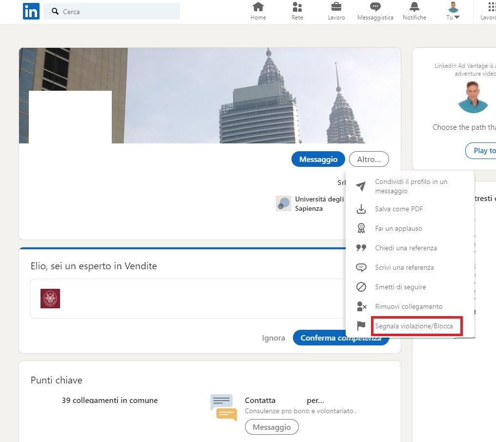 come bloccare un collegamento su Linkedin