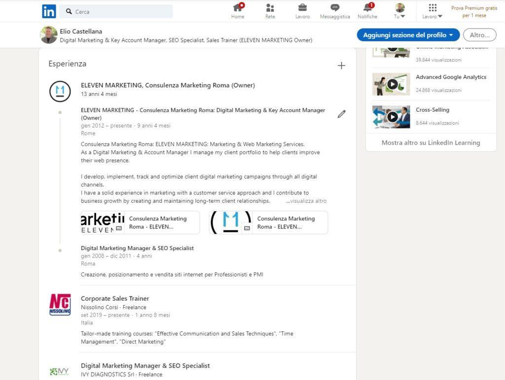 Guida SEO Linkedin 2021, esperienze professionali, ottimizzazione SEO profilo Linkedin