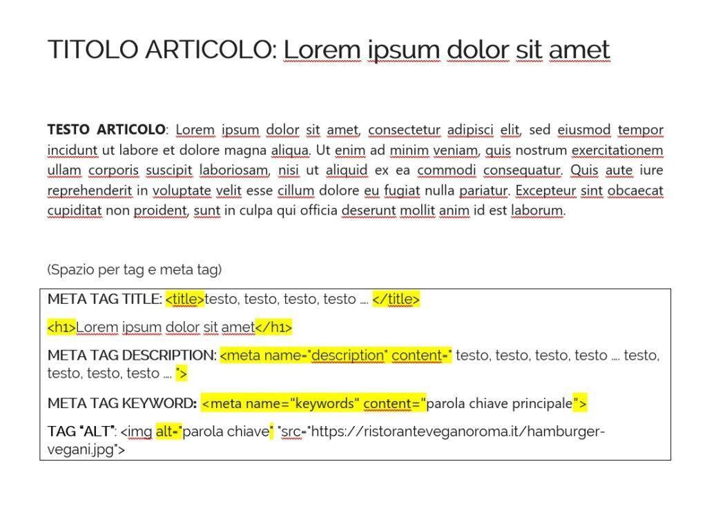 esercizio SEO realizzazione testo ottimizzato con tag e meta tag, guida seo pdf 2021
